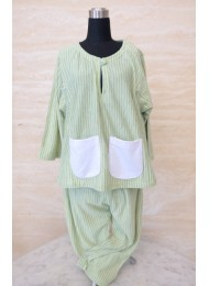Lime green and grey stripe baju melayu for Boys