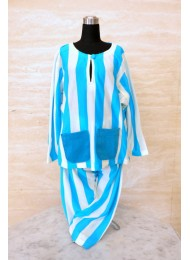 ** Stripe sky blue and white baju melayu for Boys