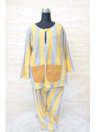 ** Yellow and grey stripe baju melayu for Boys