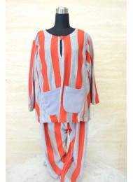** Reddish orange and grey stripe baju melayu for Boys