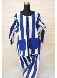 ** Midnight blue stripe baju melayu for Boys