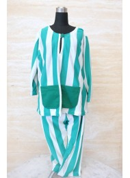 ** Sea green stripe baju melayu for Boys