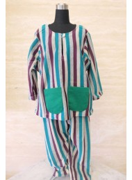** Stripe purple teal grey baju melayu for Baby