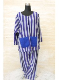 ** Purple grey stripe with blue pockets baju melayu for Baby