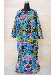 * Tropical garden on black baju kurung for Girls