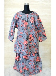 * Coral pink roses on grey baju kurung for Girls