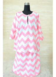 * Bubblegum pink chevron baju kurung for Baby