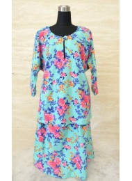 * Floral on turquoise baju kurung for Baby