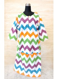 * Colourful chevron on white baju kurung for Girls