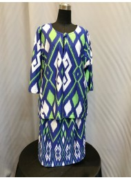 Aztec Print Kurung in Navy Blue and Green